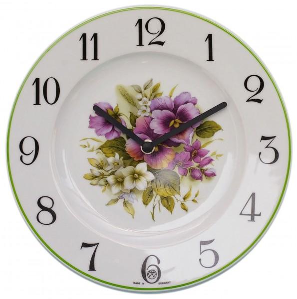 Telleruhr-Porzellan Dekor / Blumenstrauß