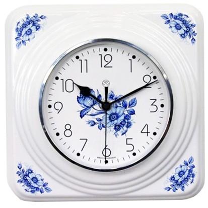 Funk-Küchenuhr / blaue Blüten