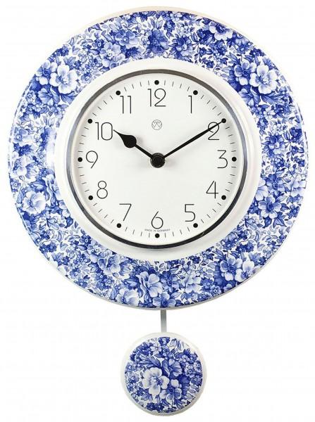 Quarz-Pendeluhr / Volldekor blaues Blumenmeer