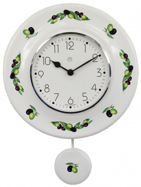 Quarz-Pendeluhr / Oliven schwarz-grün