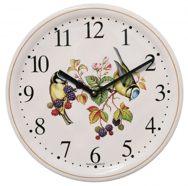 Keramik-Uhr Dekor / Vögel