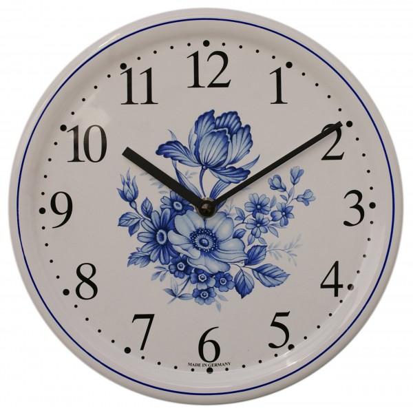 Keramik-Uhr / blaue Blume