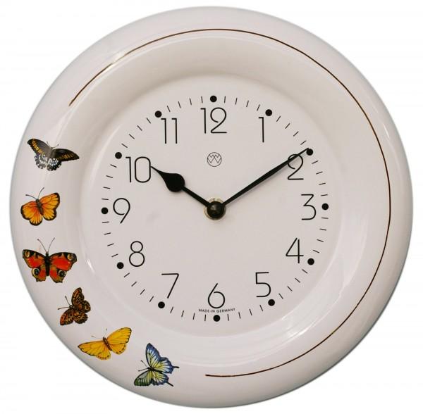 Keramik-Uhr Dekor / Schmetterlinge