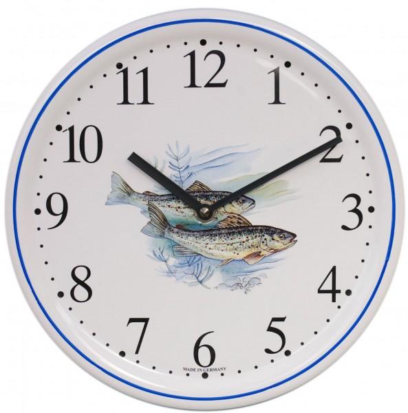 Keramik-Uhr / Fische