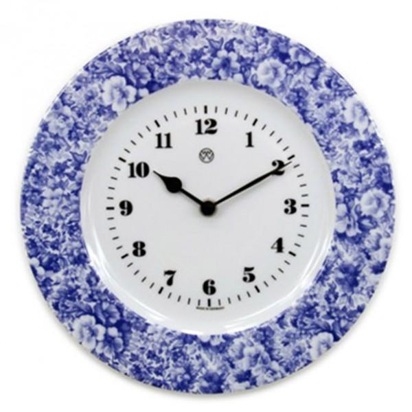 Telleruhr, Volldekor blaues Blumenmeer
