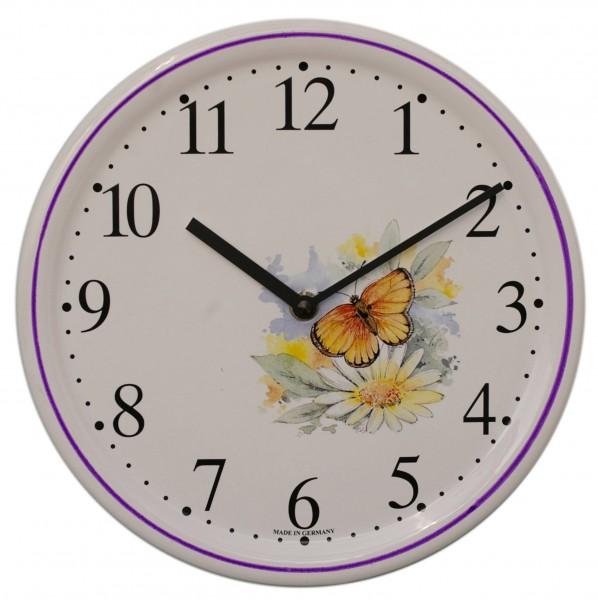 Keramik-Uhr / Schmetterling gelb