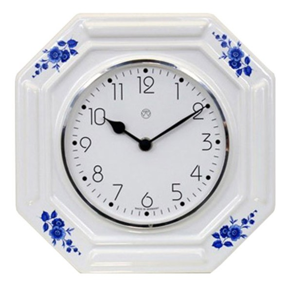 Quarz-Küchenuhr / blaue Blumen