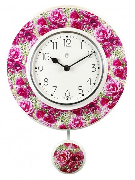 Quarz - Pendeluhr rosa Rosen
