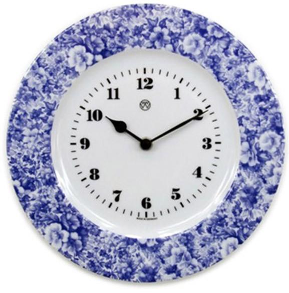 Telleruhr Volldekor / blaues Blumenmeer