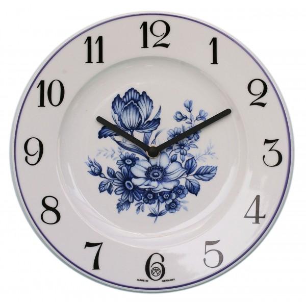 Telleruhr-Porzellan Dekor / blaue Blume