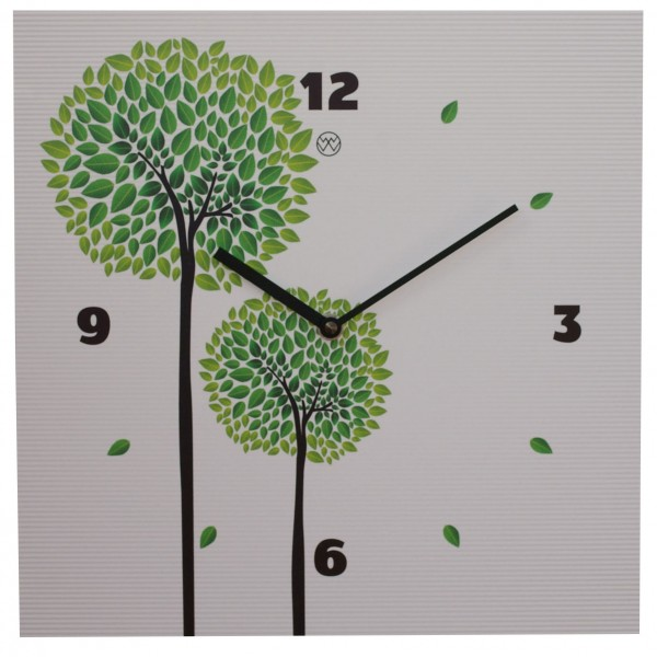 Quarz-Wanduhr / Bäume