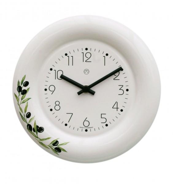 Keramik-Küchenuhr Dekor/Oliven