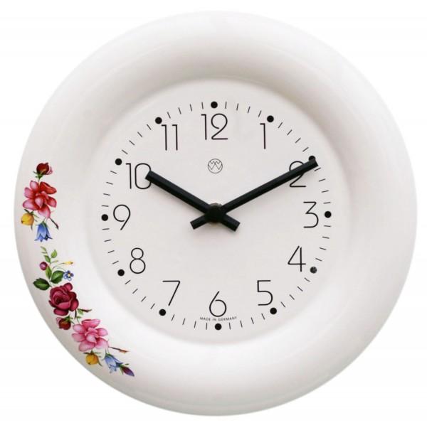 Keramik-Küchenuhr / Blumenranke