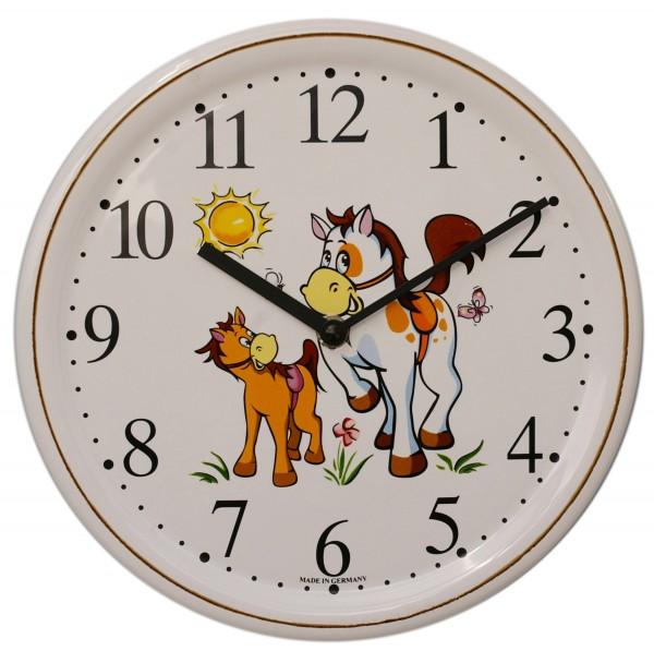 Keramik-Uhr / Pferd groß und klein
