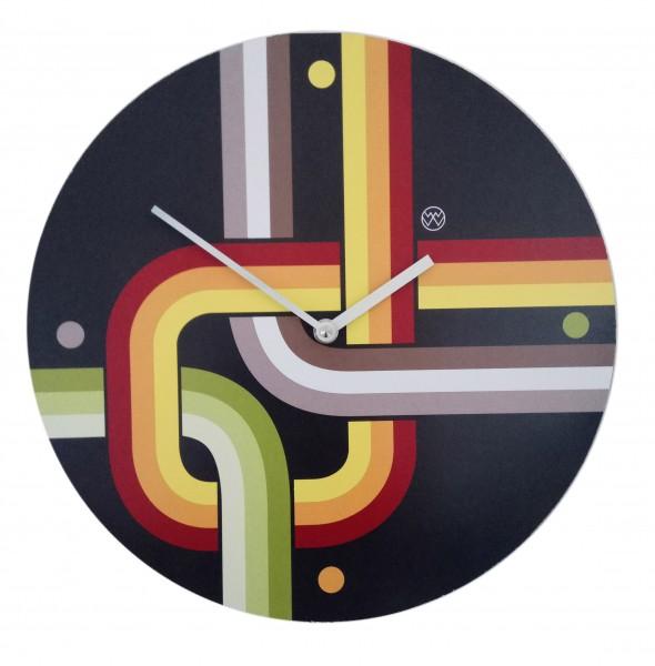 Quarz-Uhr Retro-Look/ schwarz