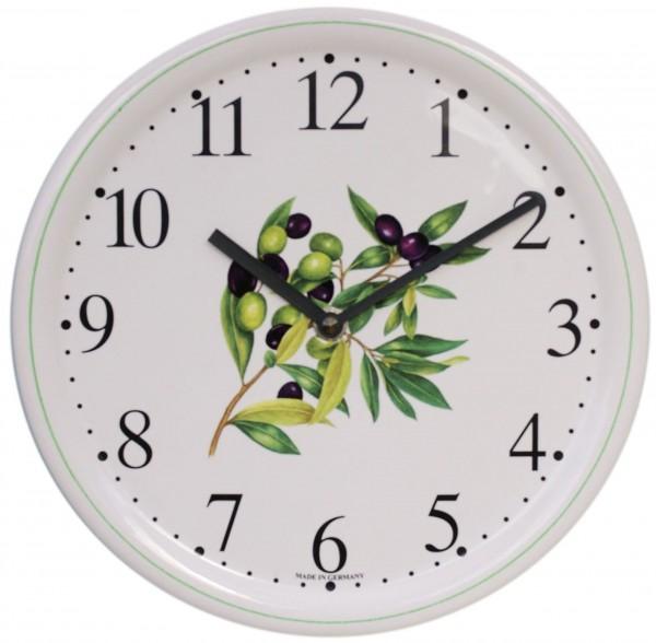 Keramik-Uhr / Olivenzweig