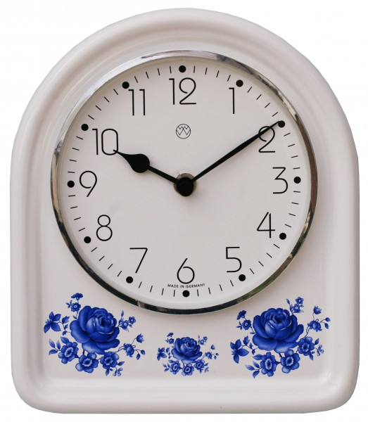 Quarz-Küchenuhr Dekor / blaue Blume