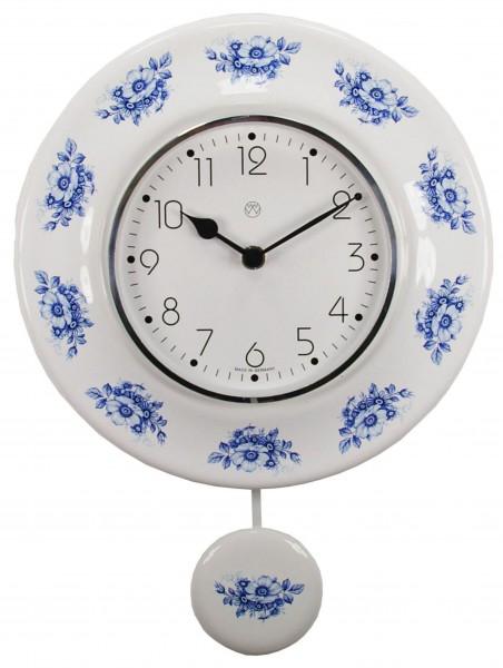 Quarz-Pendeluhr Dekor/blaue Blüten