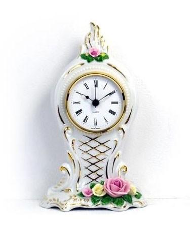 Porzellan Tischuhr - Gold Rose