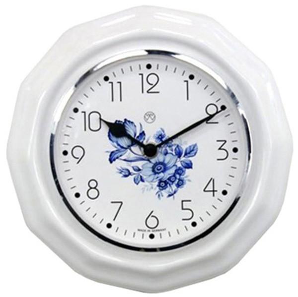 Quarz-Küchenuhr / blaue Blume