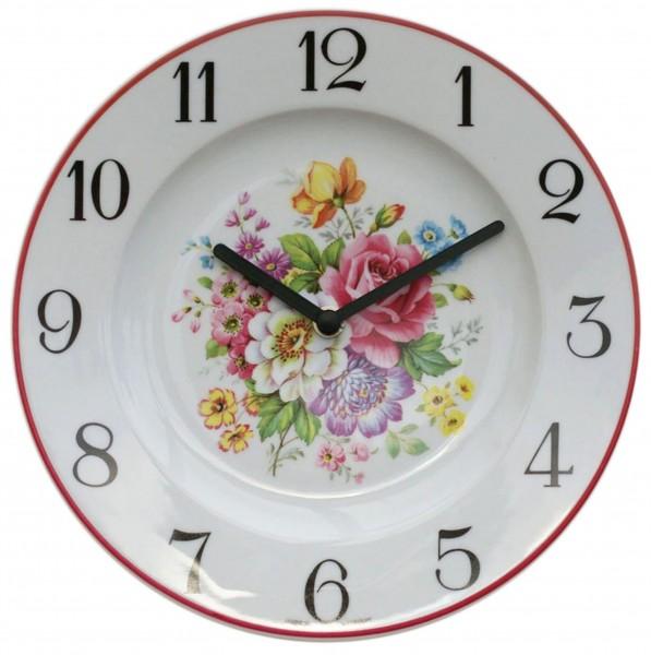 Telleruhr aus Porzellan / Sommerblume