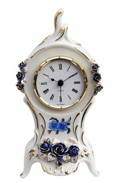 Porzellan Tischuhr - Blaue Blumen