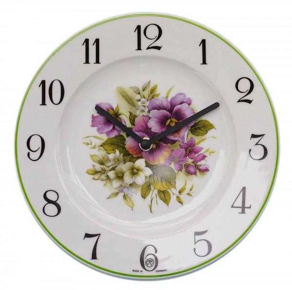 Telleruhr aus Porzellan / Blumenstrauß