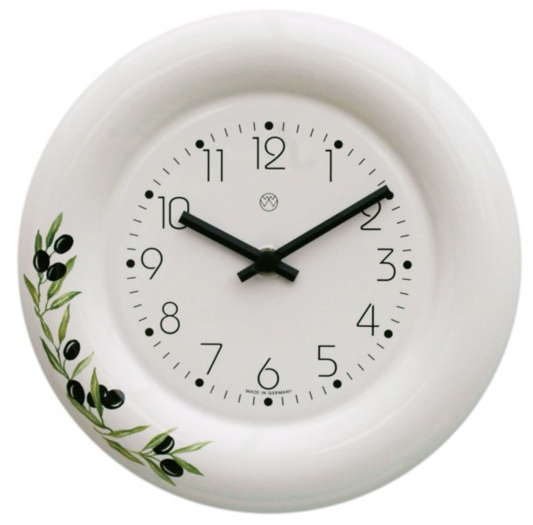 Keramik-Küchenuhr / Oliven