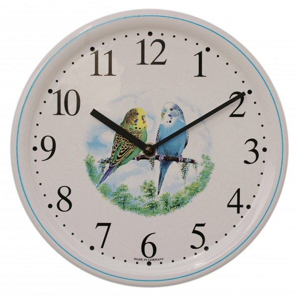 Keramik-Uhr / Wellensittich