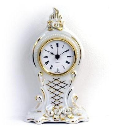 Porzellan Tischuhr - goldene Raute