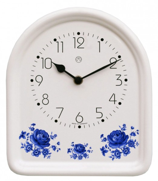 Keramik-Küchenuhr / blaue Rosen