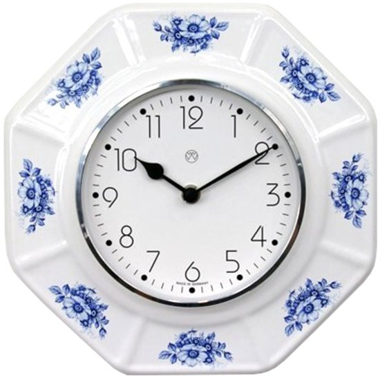 Küchenuhr Quarz ( blaue Blumen )