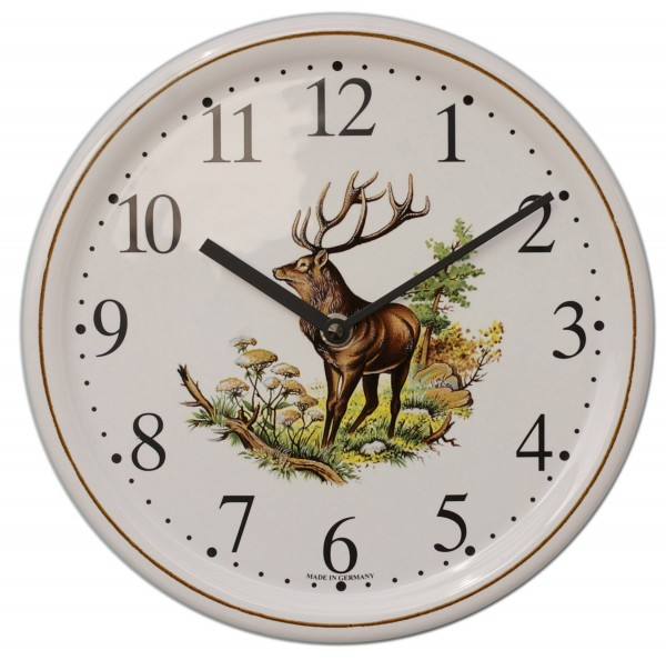 Keramik-Uhr / Hirsch