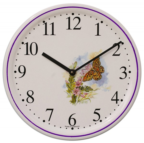 Keramik-Uhr / Schmetterling