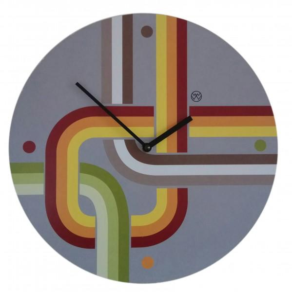 Quarz-Uhr Retro-Look/lichtgrau