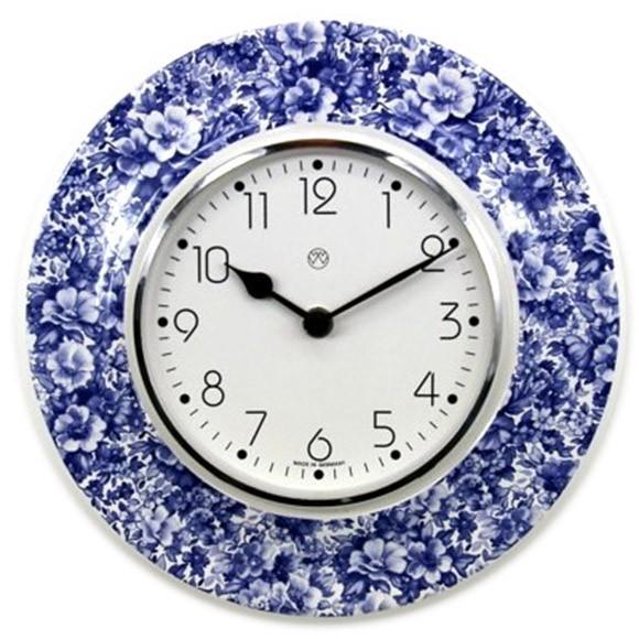 Quarz-Küchenuhr / blaues Blumenmeer